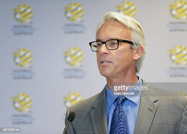 David Gallop talks during the Football Federation Australia Hall of Fame induction ceremony and recognition of 1965 Socceroos at the FFA Offices on...