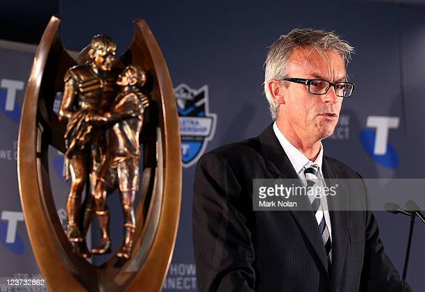 David Gallop talks to the media during the 2011 NRL Finals Captains Call at Sydney Football Stadium on September 5 2011 in Sydney Australia