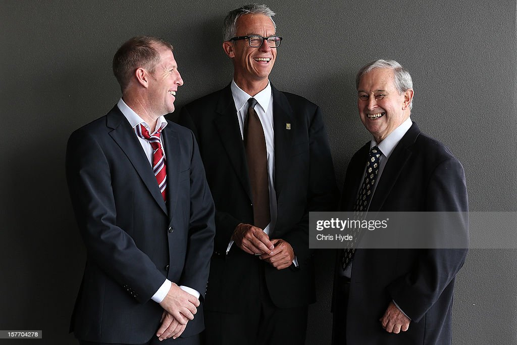 David Gallop (C) talks with Scott Chipperfield (L) and Alan Vessey (R) during the 2012 Football Federation Australia Hall of Fame induction ceremony at Gambaro Restaurant and Function Centre on December 6, 2012 in Brisbane, Australia.