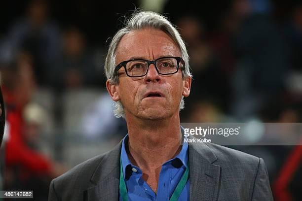David Gallop watches on during the FFA Cup Round of 16 match between Rockdale City Suns and Melbourne Victory at WIN Jubilee Stadium on September 1...
