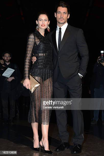 David Gandy and Bianca Balti attend the Dolce Gabbana fashion show during Milan Fashion Week Womenswear Fall/Winter 2013/14 on February 24 2013 in...