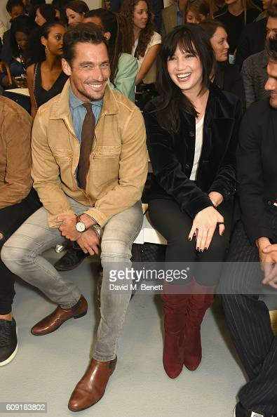 David Gandy and Daisy Lowe sit on the front row at Vero X Oliver Spencer Catwalk Show witnessing the first instant See Now Buy Now purchase on new...