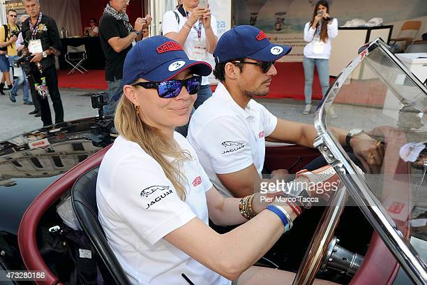 David Gandy and Jodie Kidd attend the Mille Miglia historic road race at Brescia on May 14 2015 in Brescia Italy
