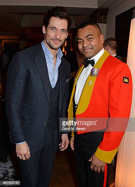 David Gandy and Lance Corporal Johnson Beharry VC attend Debrett's 500 party hosted at The Club at Cafe Royal on January 26 2015 in London England...