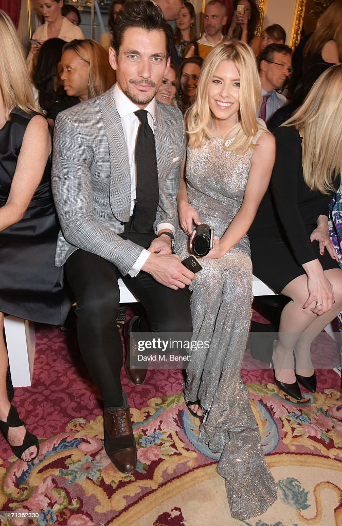 David Gandy and Mollie King sit in the front row during the LDNY catwalk show and WIE Award gala sponsored by Maserati at Goldsmith Hall on April 27...