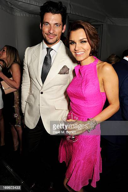 David Gandy and Samantha Barks attend an after party following the Glamour Women of the Year Awards in association with Pandora at Berkeley Square...