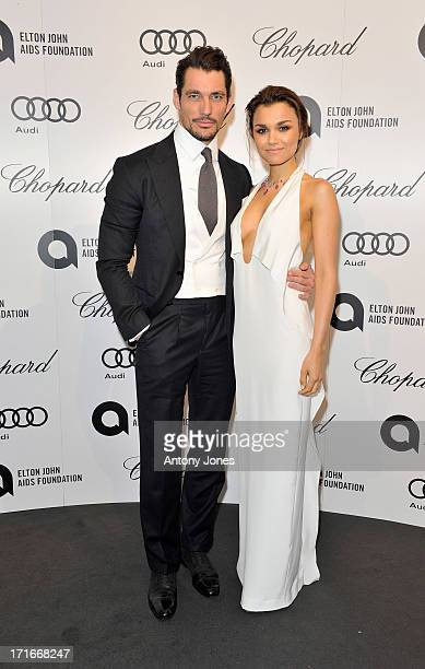 David Gandy and Samantha Barks attend the 15th Annual White Tie and Tiara Ball to Benefit Elton John AIDS Foundation in Association with Chopard at...
