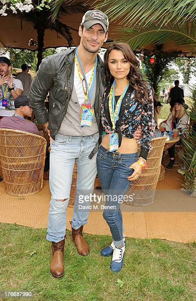 David Gandy and Samantha Barks attend the Mahiki Coconut Backstage Bar during day 1 of V Festival 2013 at Hylands Park on August 17 2013 in...
