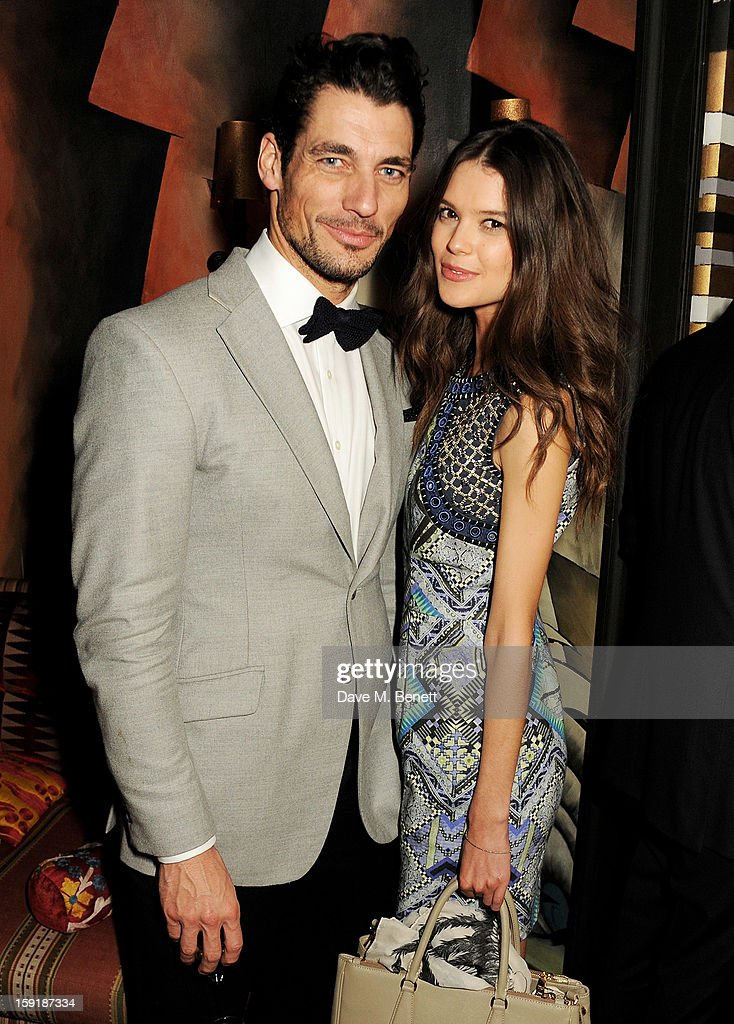 David Gandy (L) and Sarah Ann Macklin attend a private dinner hosted by Tom Ford to celebrate his runway show during London Collections: MEN AW13 at Loulou's on January 9, 2013 in London, England.