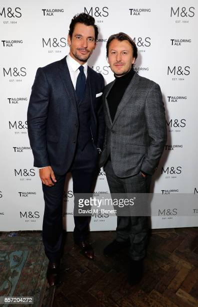 David Gandy and Terry Betts attend the MS Tailoring Talk on October 3 2017 in London England