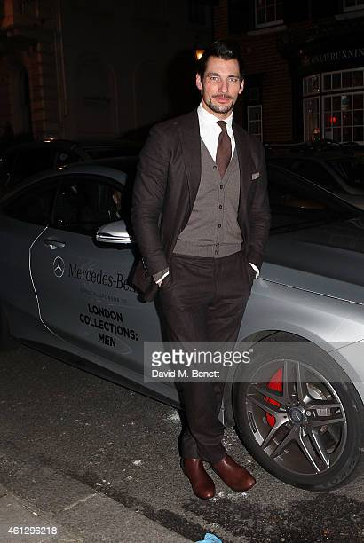David Gandy arrives in style in a MercedesBenz during London Collections Men at Esquire's party at Mark's Club on January 10 2015 in London England