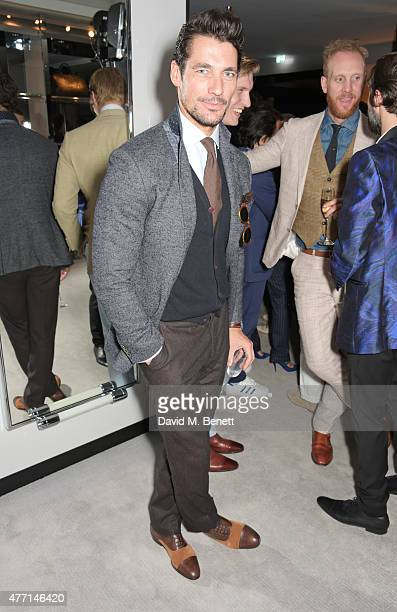 David Gandy attends a cocktail reception celebrating the Tom Ford Spring/Summer 2016 collection during London Collections Men at the Tom Ford Sloane...