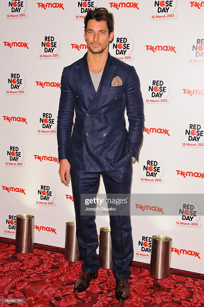 David Gandy attends a fundraising cocktail party hosted by TK Maxx in aid of Comic Relief's Red Nose Day at The Royal Opera House on February 28, 2013 in London, England.