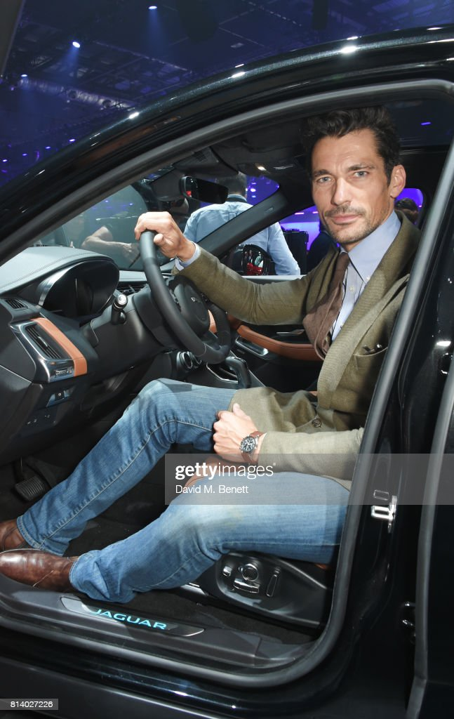 David Gandy attends the all-new Jaguar E-Pace reveal at ExCel on July 13, 2017 in London, England. Jaguar's newest model was launched with an epic barrel roll of 15 metres, 30 centimetres and saw renowned stunt driver Terry Grant set a new world record for the longest barrel roll in a production vehicle.