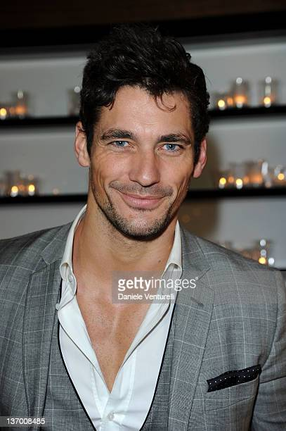 David Gandy attends the Dolce Gabbana 'La Bella Estate' Cocktail Launch during Milan Fashion Week Menswear Autumn/Winter 2012 on January 14 2012 in...