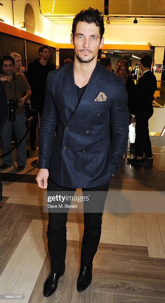 David Gandy attends the launch of 1205 Paula Gerbase hosted by Harvey Nichols on January 6, 2013 in London Engand.