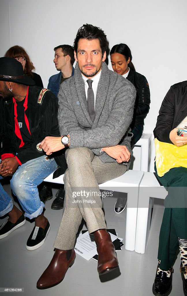 David Gandy attends the Lou Dalton show at the London Collections Men AW15 at on January 10 2015 in London England