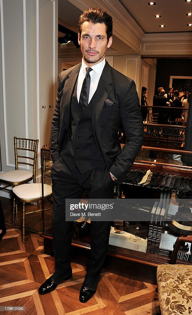 <a gi-track='captionPersonalityLinkClicked' href=/galleries/search?phrase=David+Gandy&family=editorial&specificpeople=4377663 ng-click='$event.stopPropagation()'>David Gandy</a> attends the opening of the new Dolce & Gabbana men's store with a preview of the Summer 2014 Tailoring Collection at Dolce & Gabbana on June 15, 2013 in London, England.