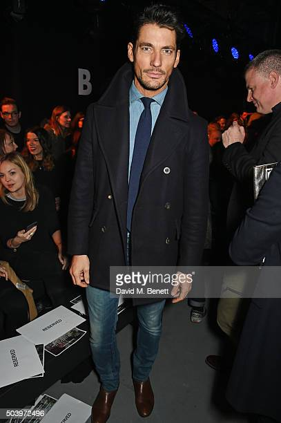 David Gandy attends the TOPMAN Design Front Row during London Collections Men AW16 at Topman Show Space on January 8 2016 in London England