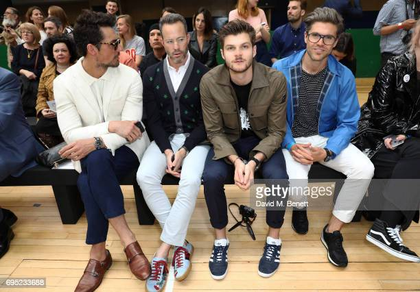 David Gandy guest Jim Chapman and Darren Kennedy attend the Vivenne Westwood SS18 show during the London Fashion Week Men's June 2017 collections on...