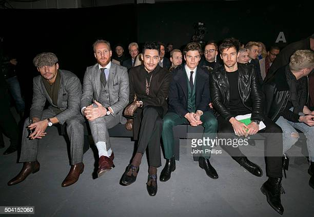 David Gandy Hu Bing and Oliver Cheshire attend the Tiger Of Sweden show during The London Collections Men AW16 at the P3 Gallery on January 9 2016 in...