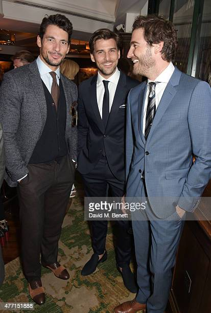 David Gandy Johannes Huebl and Robert Konjic attend the Tommy Hilfiger dinner celebrating London Collections Men SS16 at The Ivy on June 14 2015 in...
