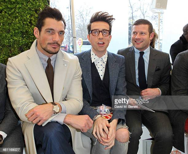David Gandy Nick Grimshaw and Dermot O'Leary attend the Richard James show during The London Collections Men Autumn/Winter 2014 on January 7 2014 in...