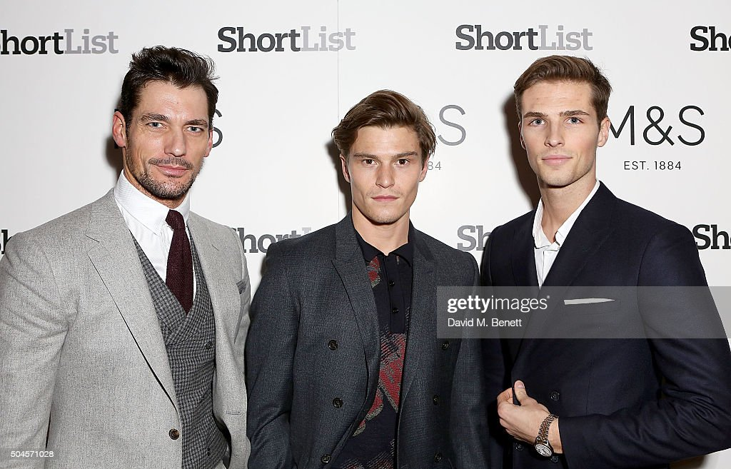 David Gandy, Oliver Cheshire and Edward Wilding attend a reception hosted by Marks & Spencer and ShortList Magazine to celebrate London Collections Men AW16 at Rosewood London on January 11, 2016 in London, England.