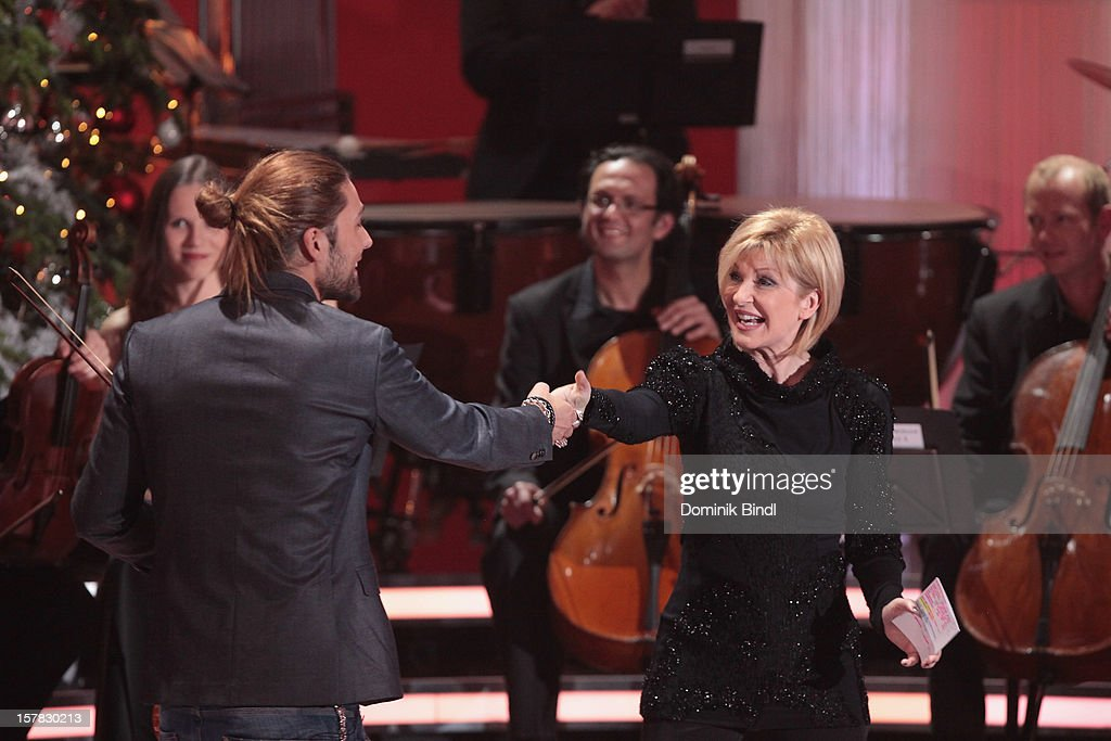David Garrett and Carmen Nebel attend 'Die Schoensten Weihnachtshits Mit Carmen Nebel' Show on December 6, 2012 in Munich, Germany.