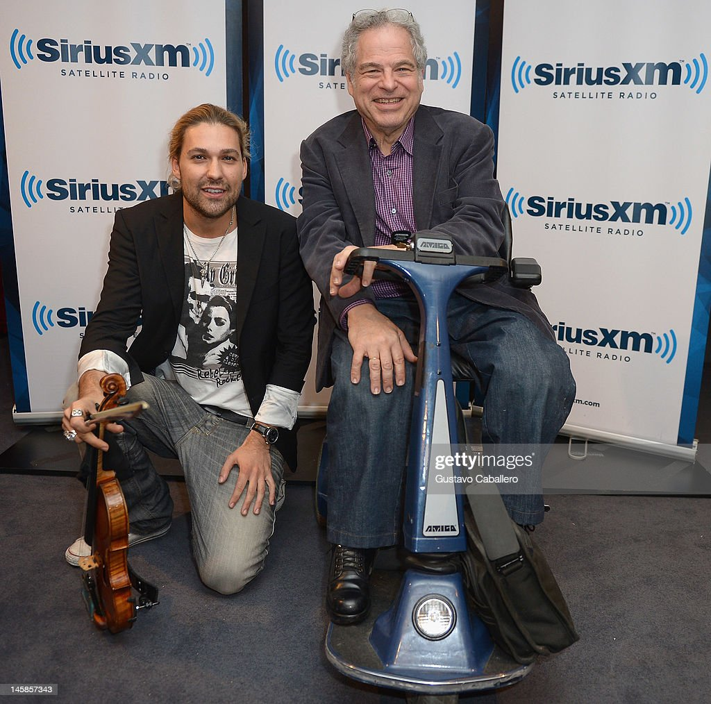 David Garrett and Itzhak Perlman are seen as part of SiriusXM's 'Artist Confidential' series on SiriusXM Pops with special guest Itzhak Perlman on June 6, 2012 in New York City.