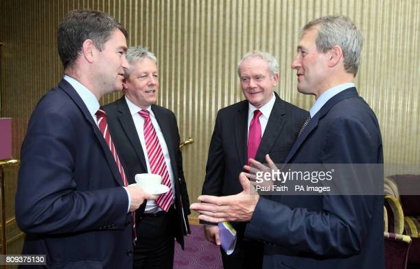 David Gauke Exchequer Secretary meets First Minister Peter Robinson and Deputy First Minister Martin McGuinness and Northern Ireland secretary of...