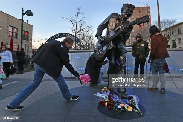David Gaule drove from Springfield Ill lays flowers at the foot of the Chuck Berry statue on the Delmar Loop in St Louis on Saturday March 18 2017...