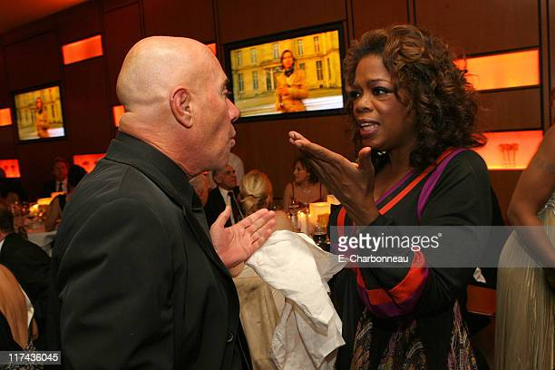 David Geffen and Oprah Winfrey during 2007 Vanity Fair Oscar Party Hosted by Graydon Carter Inside at Mortons in West Hollywood California United...