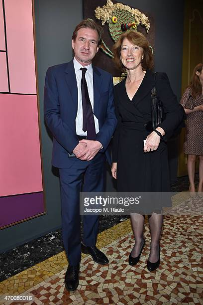 David Georgiades and Lisa King attend Phillips private dinner and preview of selected works from 'The Great Wonderful' 100 Years Of Italian Art...
