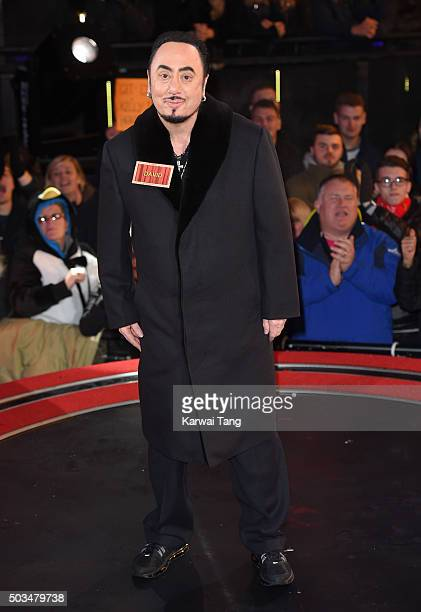 David Gest enters the Celebrity Big Brother House at Elstree Studios on January 5 2016 in Borehamwood England