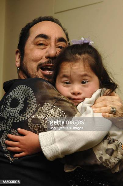David Gest hugs Isabella Costello one of the children who will benefit from the sale of Tina Turner's dress on behalf of the Caudwell Children's...