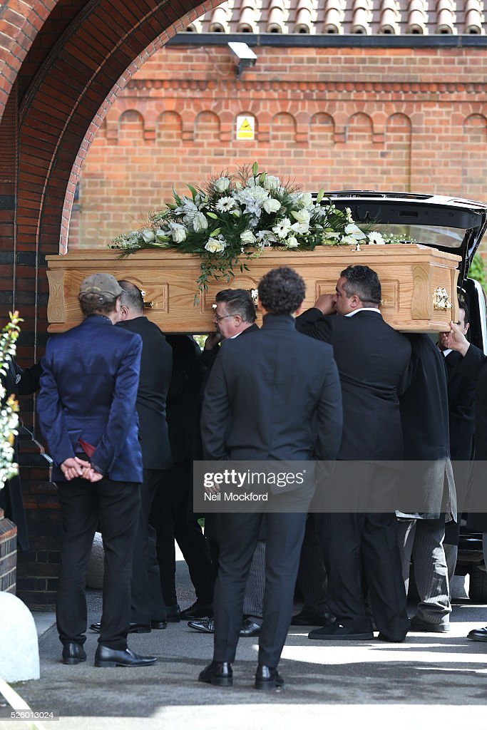 David Gest's coffin arriving at his funeral at Golders Green Crematorium on April 29, 2016 in London, England.