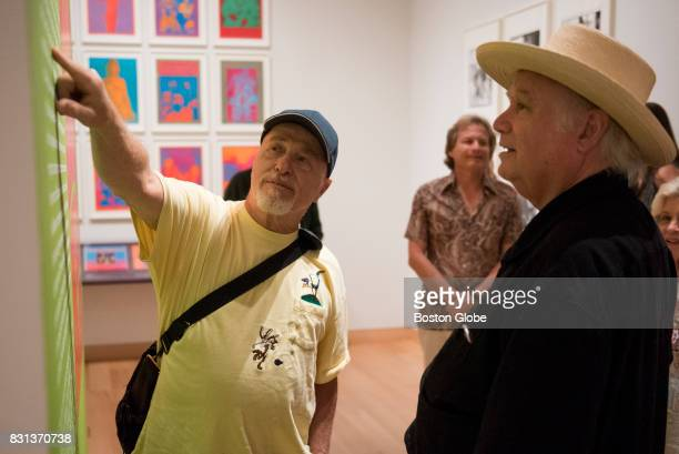 David Getz left points a quote out to Peter Albin at the Summer of Love Photography and Graphic Design exhibition at the Boston Museum of Fine Arts...
