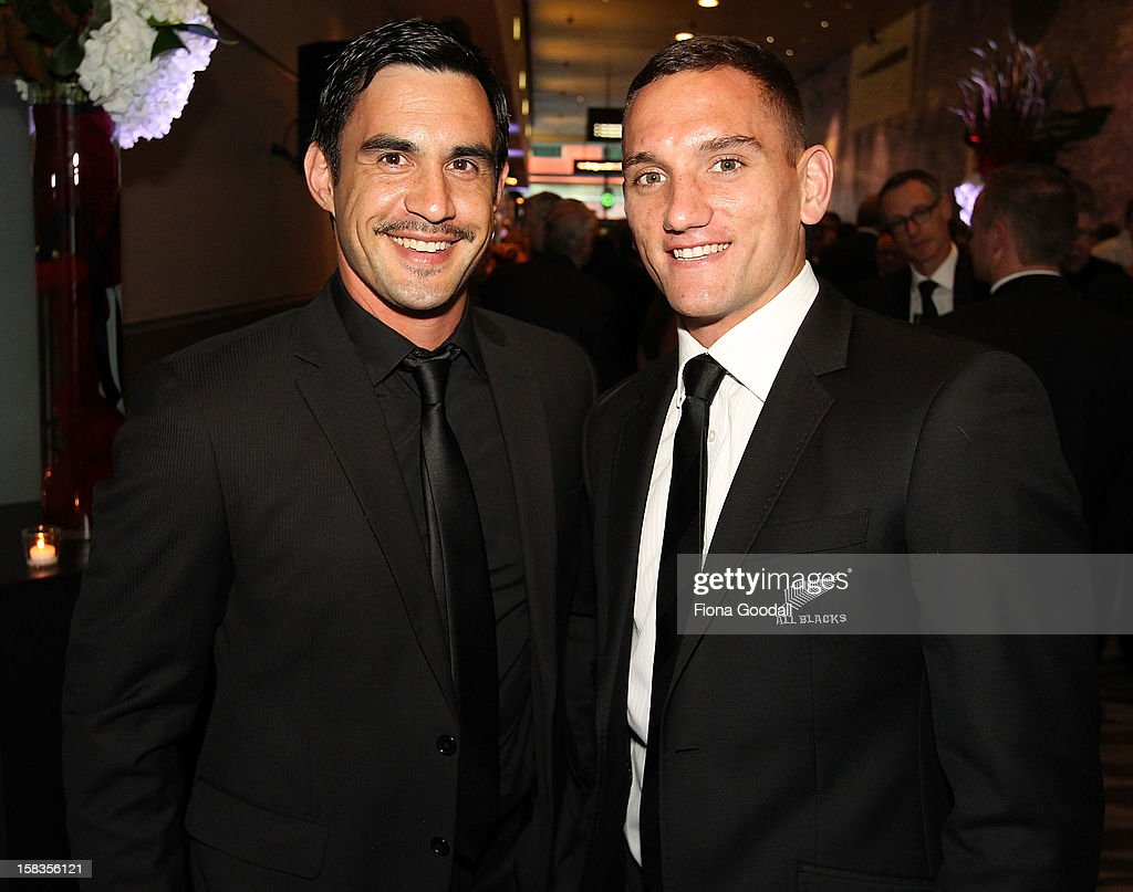 David Gibson, left and All Black <a gi-track='captionPersonalityLinkClicked' href=/galleries/search?phrase=Aaron+Cruden&family=editorial&specificpeople=5501441 ng-click='$event.stopPropagation()'>Aaron Cruden</a> during the 2012 Steinlager Rugby Awards at SkyCity Convention Centre on December 14, 2012 in Auckland, New Zealand.
