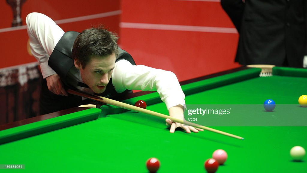 David Gilbert of England plays a shoot against Barry S. Hawkins of England during day four of the The Dafabet World Snooker Championship at Crucible Theatre on April 22, 2014 in Sheffield, England.