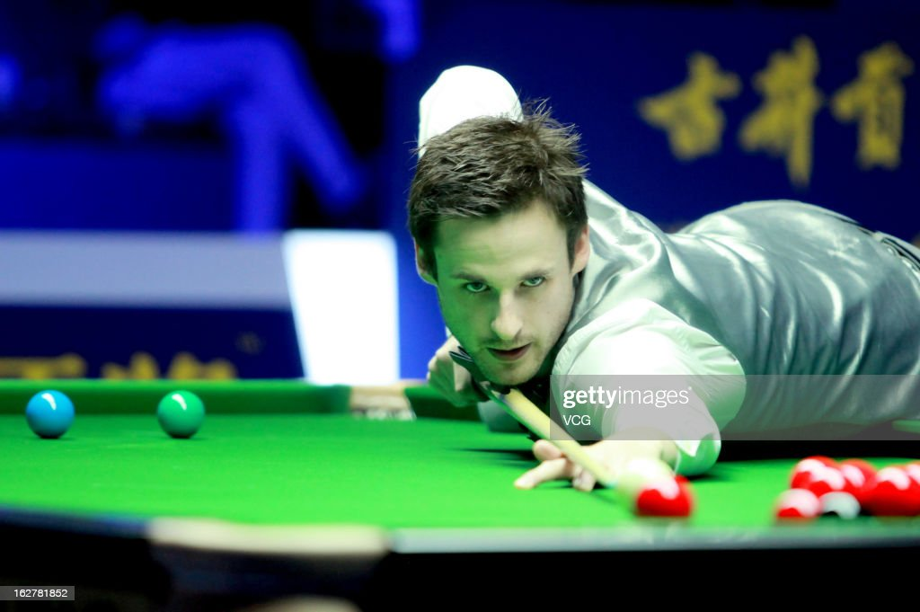 David Gilbert of England plays a shot during the match against Mathew Stevens of Scotland on day Two of the 2013 World Snooker Haikou Open at Haikou Convention & Exhibition Center on February 26, 2013 in Haikou, Hainan Province of China.