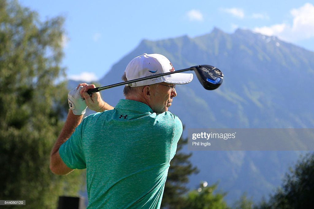 David Gilford of England in action during the the first round of the Swiss Seniors Open played at Golf Club Bad Ragaz on July 1, 2016 in Bad Ragaz, Switzerland.