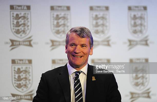 David Gill FA vicechairman smiles on stage during the official launch to mark the FA's 150th Anniversary Year at the Grand Connaught Rooms on January...