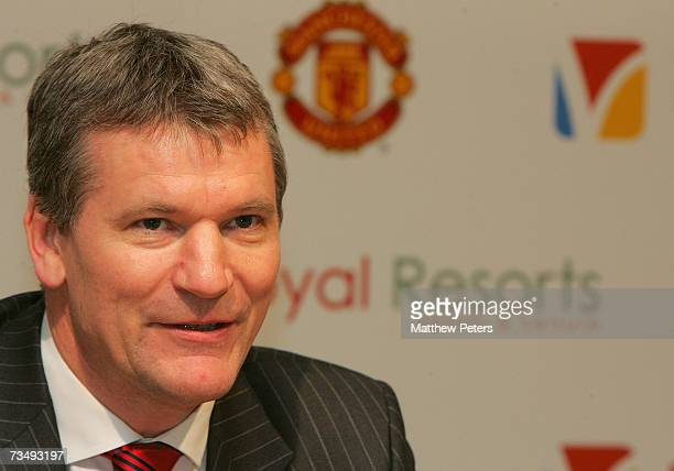 David Gill of Manchester United speaks at a press conference at Old Trafford on March 5 2007 in Manchester England The meeting marks the new Platinum...