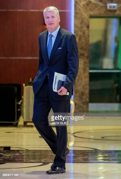 David Gill President of the English Football Federation leaves a meeting of the FIFA council in Manama on May 9 2017 A fivehour long meeting of the...