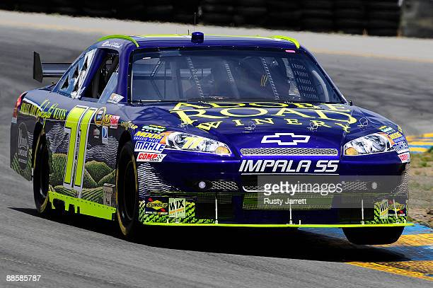 David Gilliland driver of the Adobe Road Winery Chevrolet drives during practice for the NASCAR Sprint Cup Series Toyota/Save Mart 350 at the...