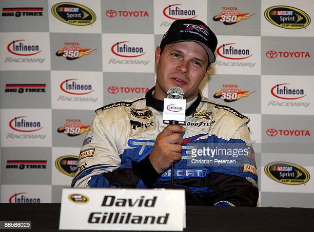 David Gilliland driver of the Adobe Road Winery Chevrolet speaks to the media during a press conference during practice for the NASCAR Sprint Cup...