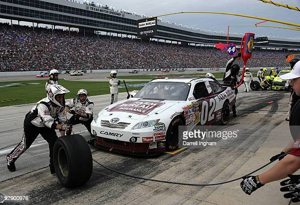 David Gilliland driver of the Farm Bureau Toyota pits during the NASCAR Sprint Cup Series Dickies 500 at Texas Motor Speedway on November 8 2009 in...