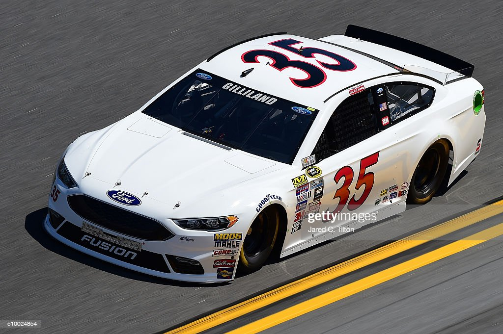 <a gi-track='captionPersonalityLinkClicked' href=/galleries/search?phrase=David+Gilliland&family=editorial&specificpeople=543432 ng-click='$event.stopPropagation()'>David Gilliland</a>, driver of the #35 Ford, practices for the NASCAR Sprint Cup Series Daytona 500 at Daytona International Speedway on February 13, 2016 in Daytona Beach, Florida.