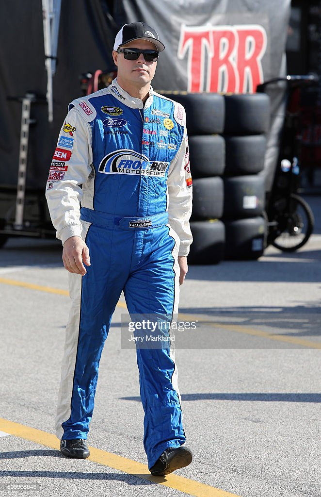 <a gi-track='captionPersonalityLinkClicked' href=/galleries/search?phrase=David+Gilliland&family=editorial&specificpeople=543432 ng-click='$event.stopPropagation()'>David Gilliland</a>, driver of the #35 Ford, walks through the garage area during practice for the NASCAR Sprint Cup Series Daytona 500 at Daytona International Speedway on February 13, 2016 in Daytona Beach, Florida.